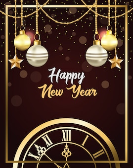 Happy new year card with watch and balls hanging
