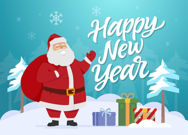 Happy new year  cartoon characters illustration with smiling happy santa claus