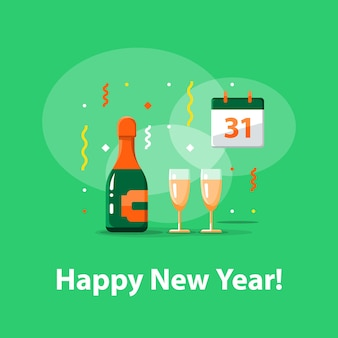 Happy new year celebration, night party, bottle of champagne and two glasses