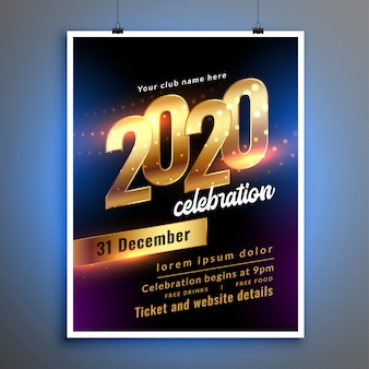 Happy new year celebration party flyer or poster template