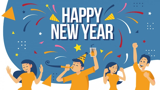Happy new year celebration poster design concept