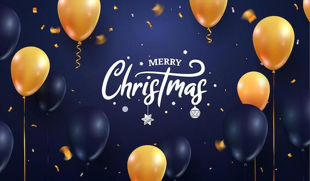 새 해 복 많이 받으세요 축 하 벡터 일러스트 레이 션 노엘 크리스마스 숫자와 진한 파란색에 풍선