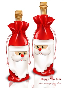 Happy new year champagne gift card. realistic santa toy illustrations