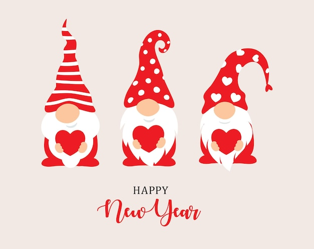 Happy new year characters design garden gnomes and red heart in hand christmass characters for
