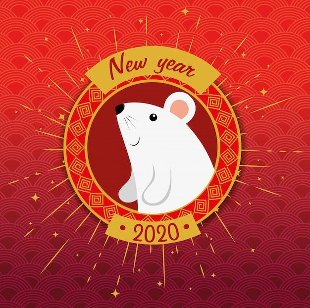 Happy new year chinese 2020 with rat and decoration vector illustration design