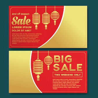 Happy new year chinese sale flyer template