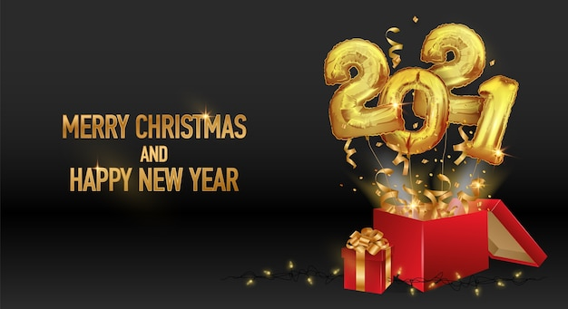 Happy new year and christmas 2021. golden balloons numbers 2021.