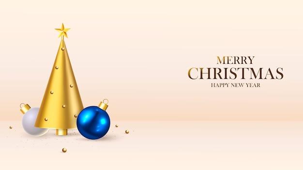 새해 복 많이 받으세요. 크리스마스 배경 디자인, 전나무 트리, 장식 공. 축제 선물 카드, 휴일 포스터, 웹 배너, 웹 사이트 헤더.