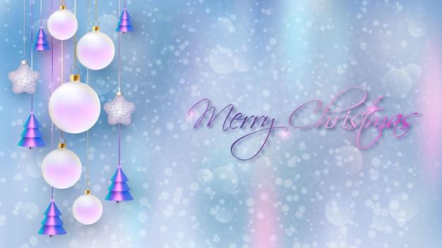 あけましておめでとう。ぼやけた背景と装飾的なボールとクリスマスの背景デザイン。ホリデーギフトカード、ホリデーポスター、ウェブバナー、ウェブサイトのヘッダー。ベクトルイラスト
