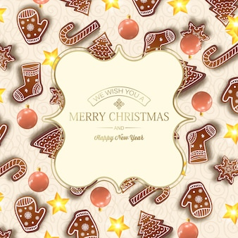 Felice anno nuovo e cartolina di natale con iscrizione dorata in elegante cornice ed elementi di natale sulla luce