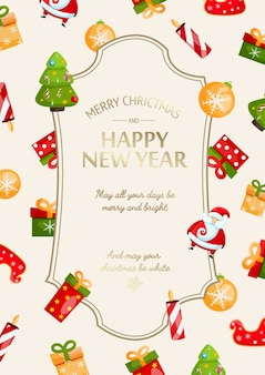 Happy new year and christmas festive card with greeting inscription