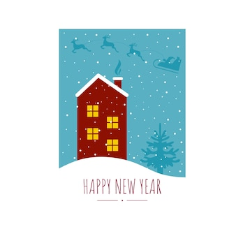 Happy new year and christmas greeting card in a4 paper format. snow house, fir tree and santa claus flying in a sleigh. winter atmospheric and cozy illustration. vector drawing for the holiday.