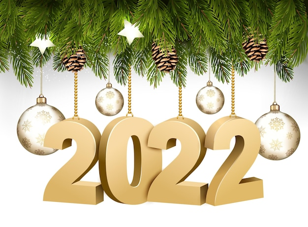 Happy new year and christmas holiday frame with branches of tree garland and 2022 litters and transparent balls. vector.