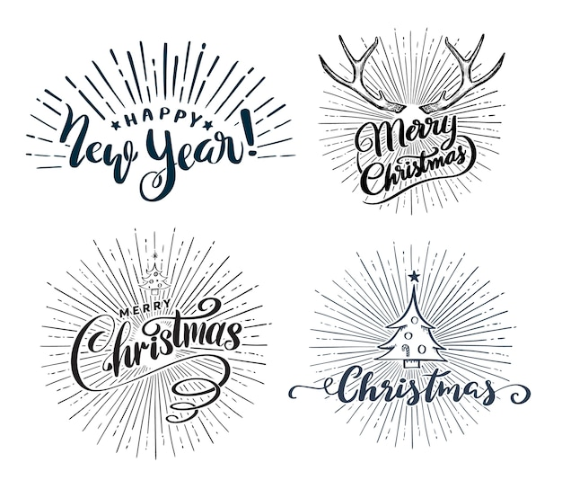 Happy new year and christmas lettering