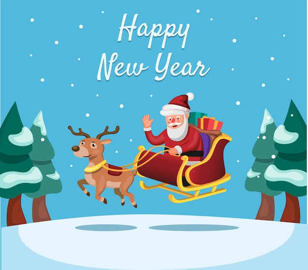 Happy new year and christmas season with santa and reindeer with giftbox cartoon illustration vector