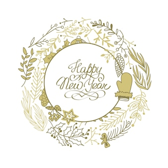 Happy new year circle beige wreath sketch composition with beautiful cartoons of branches hand drawing illustration