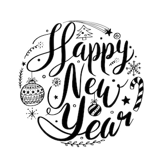 Happy new year circle lettering design vector illustration for christmas and new year greeting card poster and element for advertising promotion