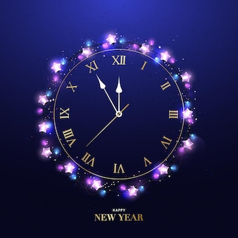 Happy new year clock five minutes to midnight