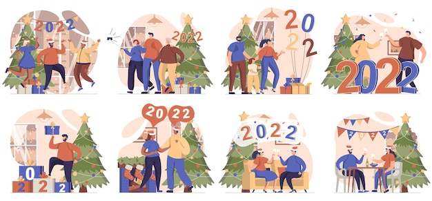 Happy new year collection of scenes isolated people celebrating 2022 having fun at festive party