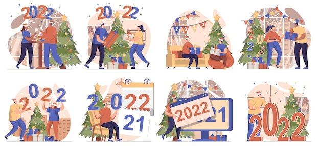 Happy new year collection of scenes isolated people celebrating 2022 holiday at home festive