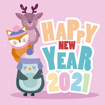 Happy new year colored wording with reindeer fox and penguin