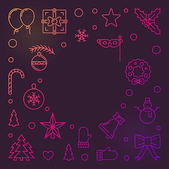 Happy new year colorful vector outline background