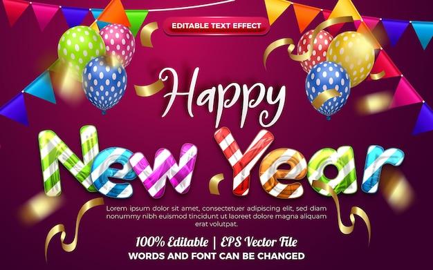 С новым годом красочный хром редактируемый стиль эффекта. оранжевый фон с красочными шарами украшения