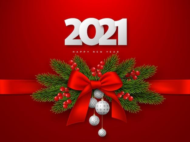 3d白い数字2021と弓、モミの木の枝、ボール、ベリーで新年あけましておめでとうございます。赤い背景。