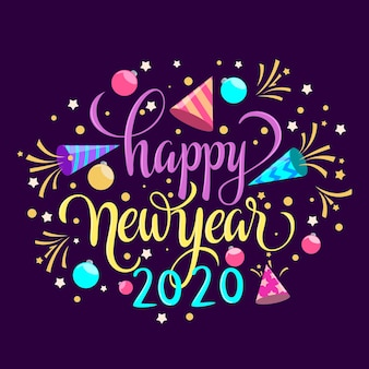 Happy new year concept with lettering
