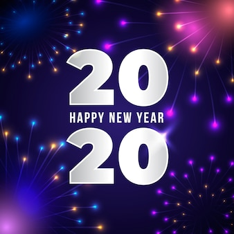 Happy new year concept with realistic design