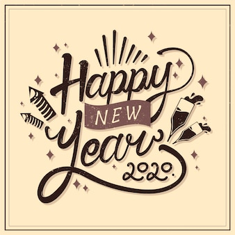 Happy new year concept with vintage design