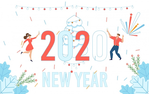 幸せな新年を祝うフラットクリエイティブグリーティングカード