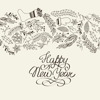 Happy new year congratulation decorative doodle with cartoons symbolizing the beginning of the next year illustration
