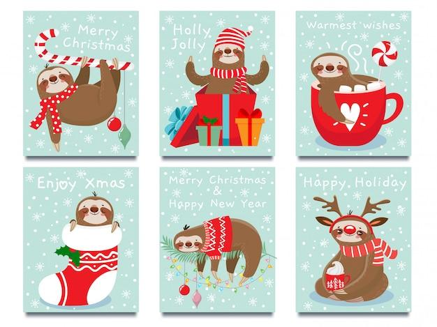 新年あけましておめでとうございますかわいい怠惰、クリスマスの怠惰、冬の休日のグリーティングカードベクトルイラスト