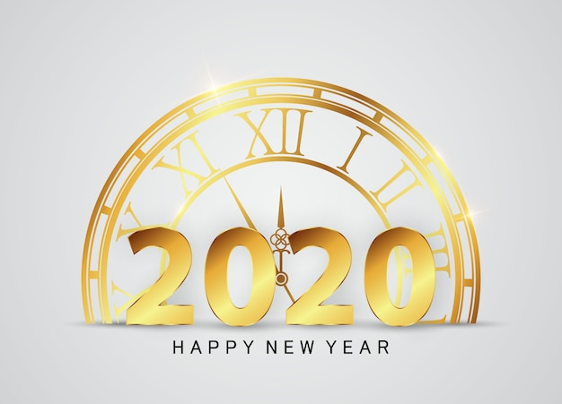 Happy new year decorated with gold and glitter clocks.