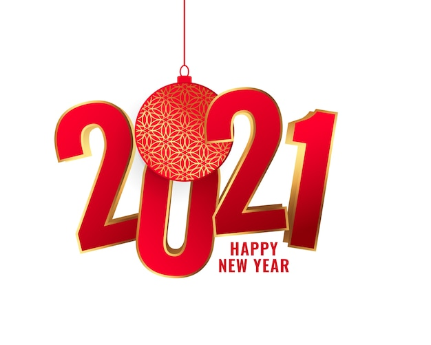 Felice anno nuovo biglietto di auguri decorativo