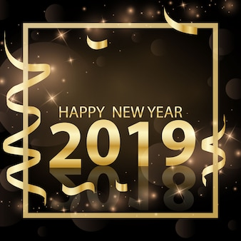 Happy new year design 2019 3d golden vector illustration