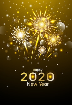 Happy new year design of gold fireworks at night