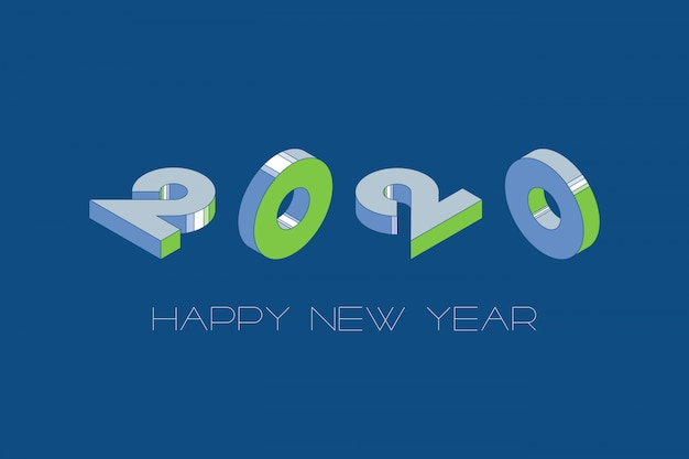 Happy new year design template with classic blue color background