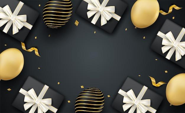 새해 복 많이 받으세요 . 검은 배경에 풍선과 선물 상자 디자인.