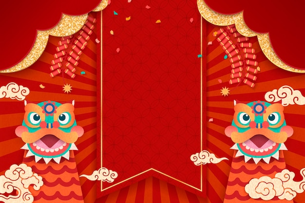 Happy new year design with cute lion dances and firecrackers elements Premium Vector