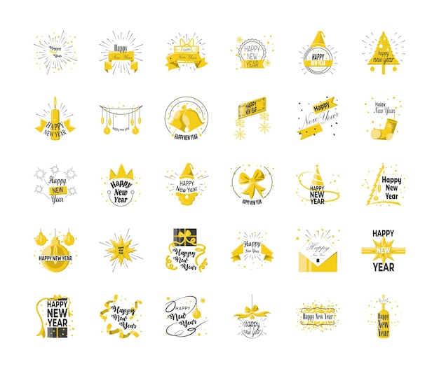 Happy new year detailed style 30 icon set design, welcome celebrate and greeting