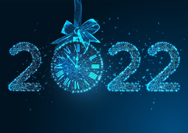 Happy new year digital web banner template with futuristic glowing low polygonal 2022 digits