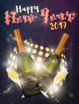 Happy new year disco poster