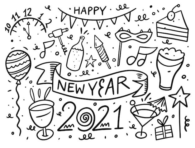 새 해 복 많이 받으세요 낙서 요소 집합입니다. 검정 잉크. 흰색 배경에 고립.