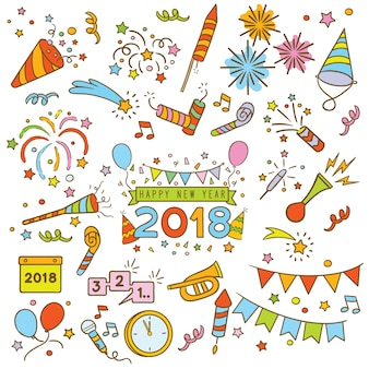 Happy new year doodle elements