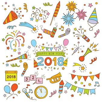 Счастливые новогодние элементы каракули
