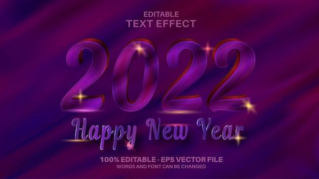 С новым годом редактируемый текстовый эффект на темно-красном фиолетовом фоне