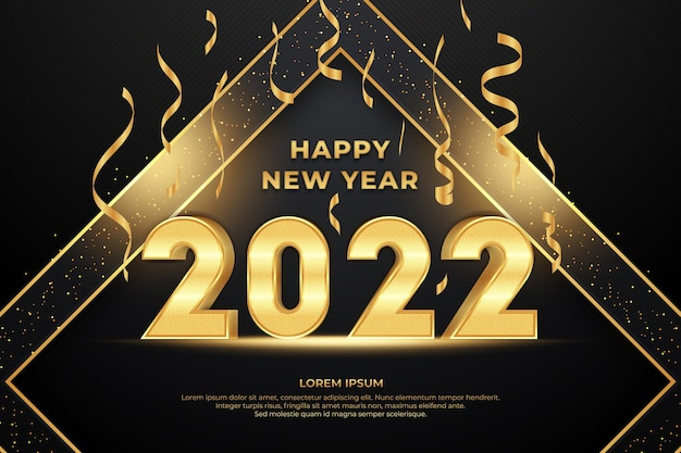 Happy new year editable text effect with black gold backround style
