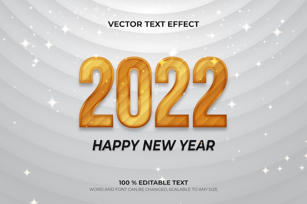 Happy new year editable text effect with white gold backround style